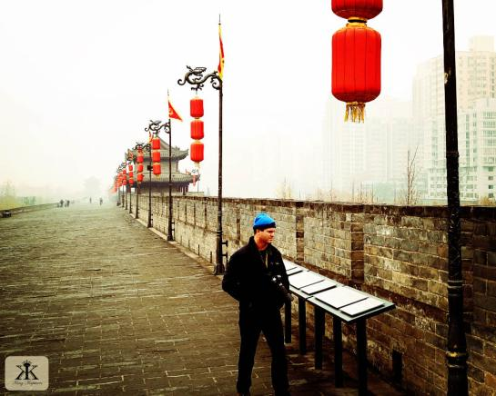 China 2014, Xian, Kevin exploring part of the massive old city wall WM