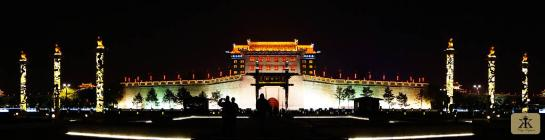 China 2014, Xian, main gate of the old city wall illuminated at night WM