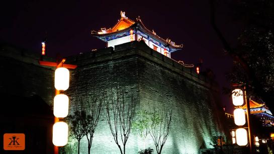 China 2014, Xian, watchtower along the city wall illuminated WM