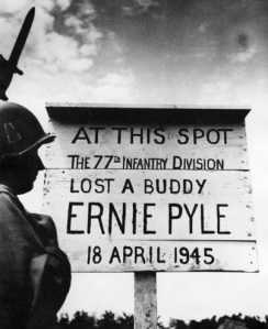 Ernie Pyle 1 - memorial sign on Ie Shima, April 1945