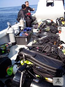 Technical deep-diving gear on the North of Nago's charter