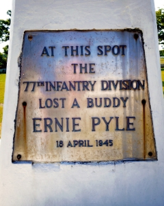 Traces of War 2015, Ie Island, Ernie Pyle monument at this spot