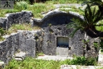 Okinawan Tomb along the Hiji River showing scares of War