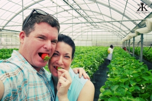 Okinawa Apr 2015, Strawberry Picking, couple of strawberries selfie WM