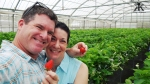 Okinawa Apr 2015, Strawberry Picking, couples' greenhouse selfie 2 WM
