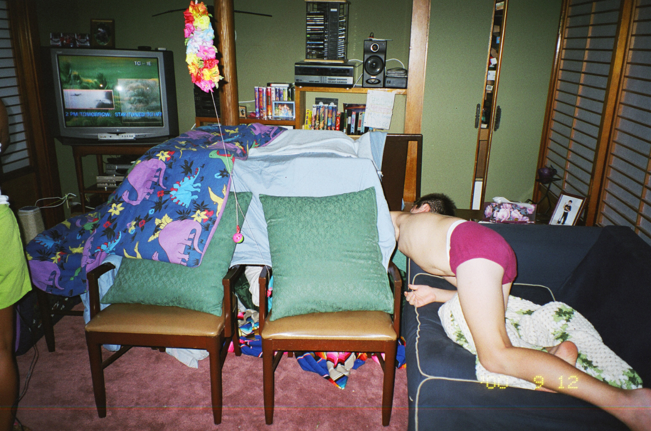 Pillow And Blanket Fort With My Kids Circa 1999