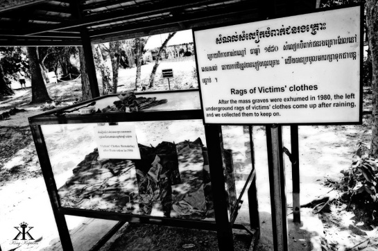 Cambodia 2015, Choeung Ek Genocidal Center (Killing Fields), rags of victims' clothes WM