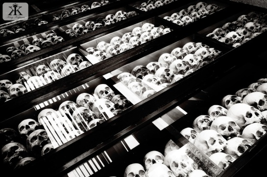 Cambodia 2015, Choeung Ek Genocidal Center (Killing Fields), skulls in the stupa WM