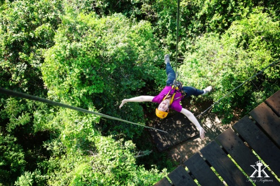Cambodia 2015, Flight of the Gibbons Zipline, Jody on the way down WM