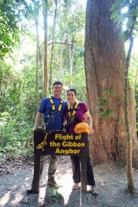 Cambodia 2015, Flight of the Gibbons Zipline, Kevin and Jody