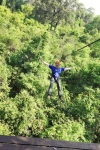 Cambodia 2015, Flight of the Gibbons Zipline, Kevin zipping through the Angkor jungle