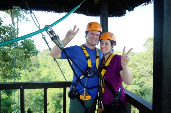 Cambodia 2015, Flight of the Gibbons Zipline, peaceful break in the course's treehouse
