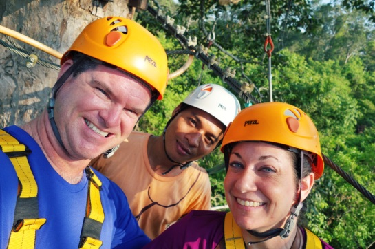 Cambodia 2015, Flight of the Gibbons Zipline, smiles