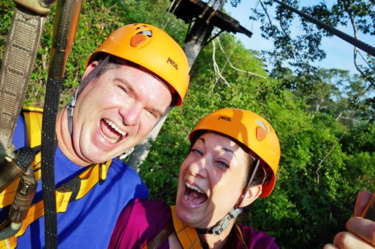 "Off on the Double ""Honeymoon"" Zipline!"