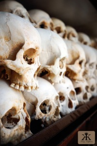 Camboida 2015, Choeung Ek Genocidal Center (Killing Fields), victim skulls at rest in the pagoda WM