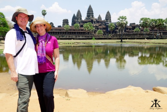 Cambodia 2015,  Angkor Wat, Kevin and Jody enjoying the wat 2 WM