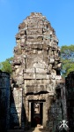 Cambodia 2015, Banteay Kdei, banded temple tower WM