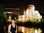 Hiroshima 2015, Peace Memorial Park, Jody night portrait with the A-Dome