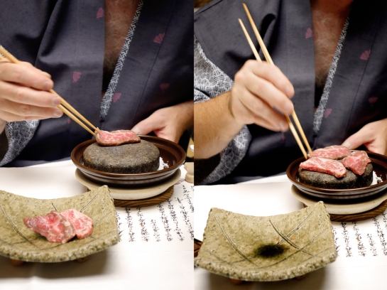 Stone-Grilling Fresh Hiroshima Beef - the BEST!