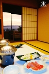 Miyajima 2015, Miyajima Grand Hotel Arimoto Hotel, in-room dining, sunset from our room 4 WM