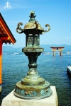 Miyajima 2015, Itsukushima Shrine, large brass chinese latern at dock's edge WM