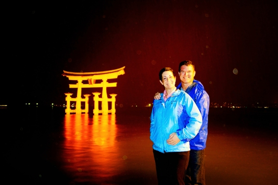 Miyajima 2015, Itsukushima Shrine, Selfie in the Rain at O-Torii Grand Torii Gate