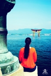 Miyajima 2015, Itsukushima Shrine, solitary view of the floating torii 2 WM