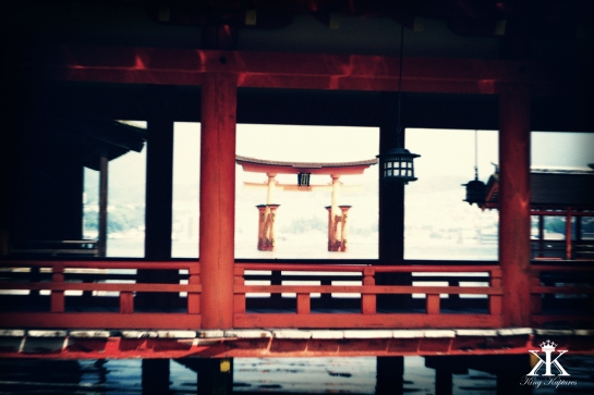 Miyajima 2015, Itsukushima Shrine, Torii Gate through a boardwalk holga WM