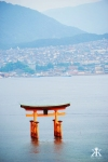 Miyajima 2015, Mount Misen, view of the Floating Torii from the rail up the mountain 2 WM