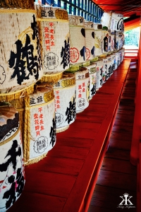 Miyajima 2015, Itsukushima Shrine, empty celebratory sake barrels WM