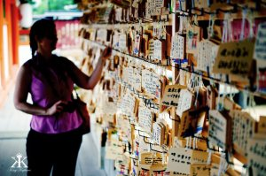 Miyajima 2015, Itsukushima Shrine, leaving a prayer and wish (shrine ema) WM