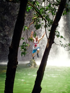 Okinawa Aug 2015, Tataki Falls, jumping for joy