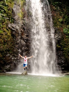 Okinawa Aug 2015, Tataki Falls, Kevin jumping for joy