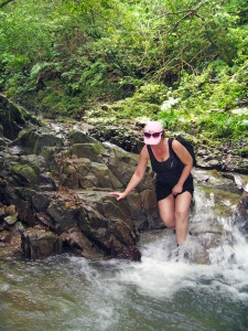 Okinawa Aug 2015, Tataki Falls, navigating the stream