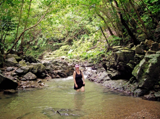 Okinawa Aug 2015, Tataki Falls, trekking through the river