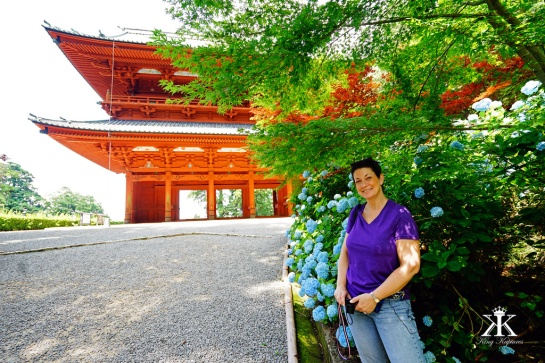 Jody at Koya's Main Gate, a landmark for Pilgrimage Beginning or End