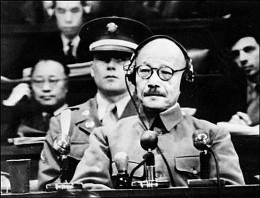 Tojo at the Tokyo Trials - not such a peace-loving guy....