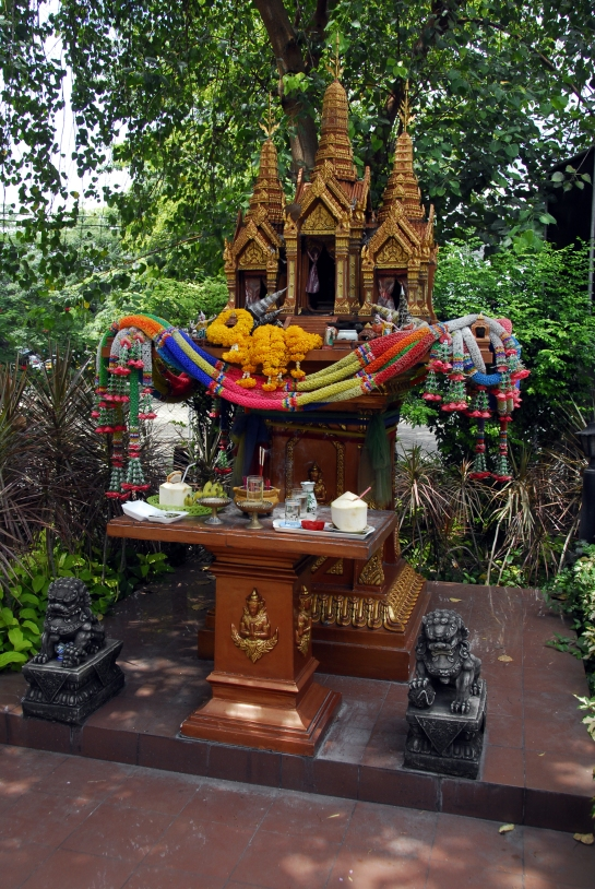 A Spirit House Combined WITH Protective Lion-Dogs!